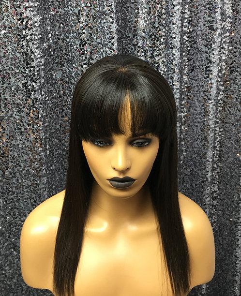"""13"""" 100% Human Hair Lace Frontal Bang Wig"""