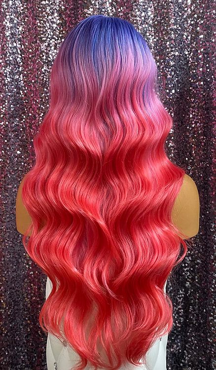 """21"""" Human Hair Blend Lace Frontal Deep Part Wig"""