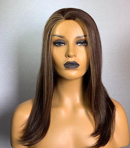"""12"""" 100% European Human Hair Half Wig Hair Fall"""