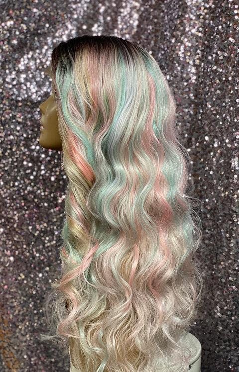 "22"" Human Hair Blend Lace Front Deep Part Wig"