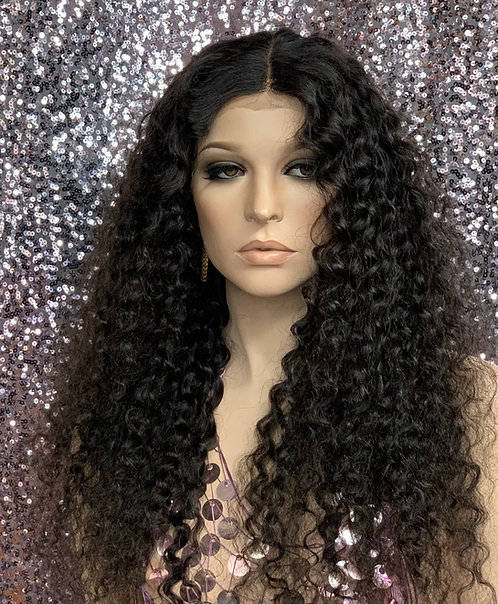 """22"""" 100% Human Hair Deep Part Lace Front Wig"""