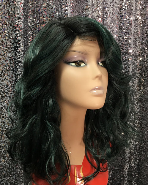 """11"""" Human Hair Blend Deep Lace Part Lace Frontal Wig"""