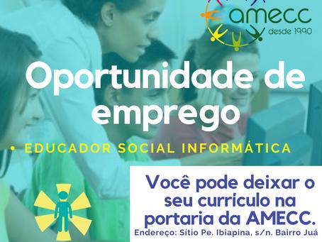 VAGA PARA EDUCADOR SOCIAL NA ARÉA DE INFORMÁTICA