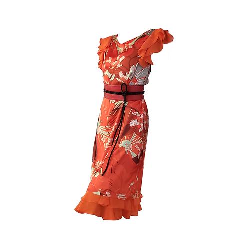 Red Koi Silk & Chiffon Ruffles Satchel Dress