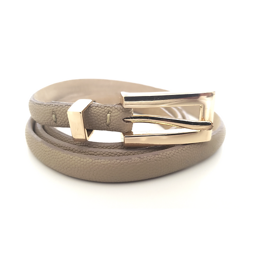 Taupe Skinny Leather Belt Gold Buckle