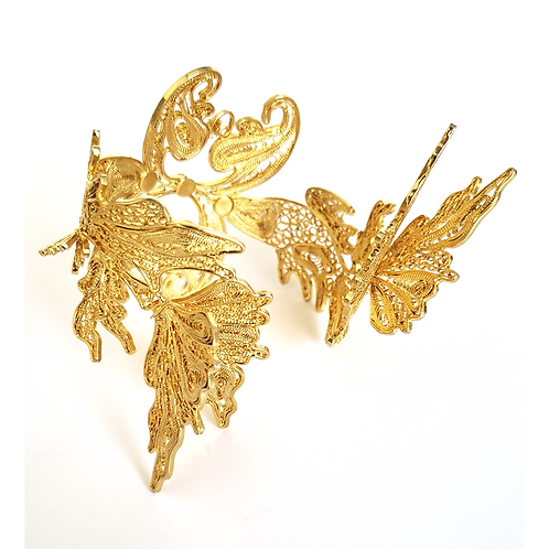 3D Koi Fish 24K Gold Plated Filigree Bracelet