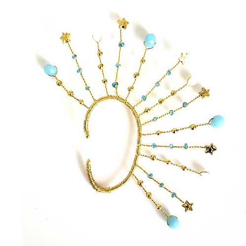 Gold Stars and Blue Moon EarCuff