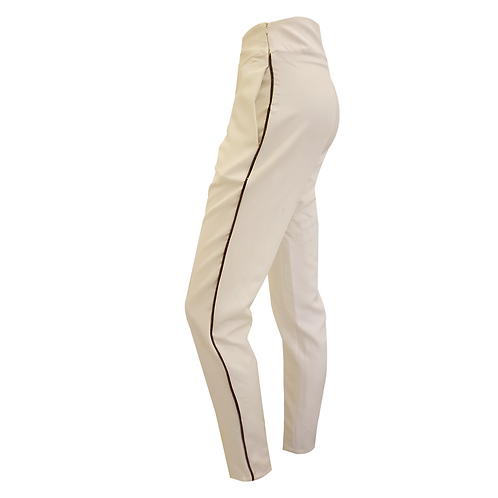 Off White Crepe Pants W/ Gold Line