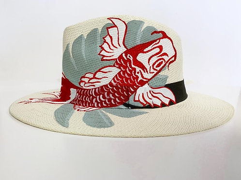 Red Koi Hand Painted Hat by Theme Dresser for Rei Giraldo