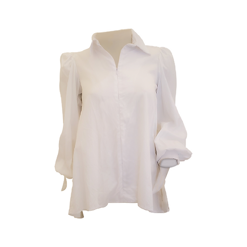White Pleated Shirt W/ Front Zipper