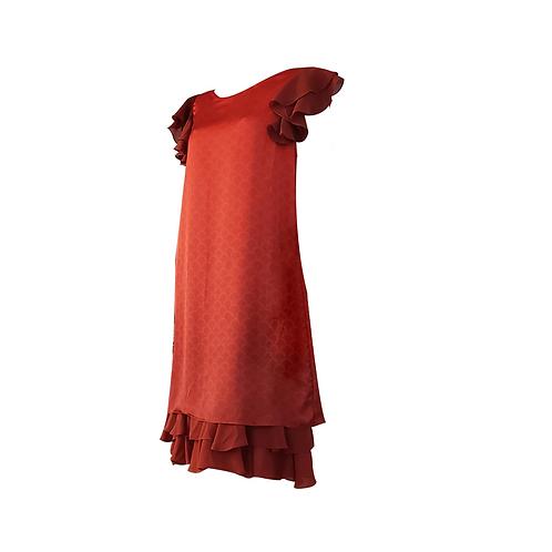 Red Scales Silk & Chiffon Ruffles Satchel Dress