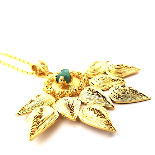Emerald Lotus 24K Gold Plated Filigree Pendulum