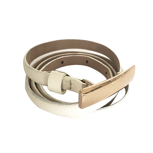 Off White Skinny Leather Belt Gold Buckle