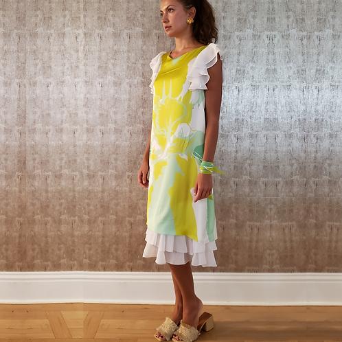 Yellow Koi Silk & Chiffon Ruffles Satchel Dress