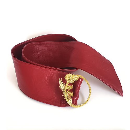 Koi Buckle Red Leather Belt
