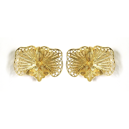 Orchid 24k Gold Plated Filigree Hoops Earrings