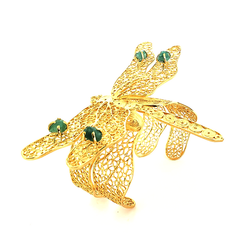 Dragon-Fly Emeralds 24K Gold Plated Filigree Bracelet