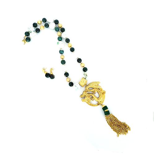 Set Dragon Agatha & Jade Necklace