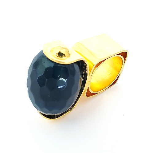Navy Blue Agatha 24k Gold Plated Ring