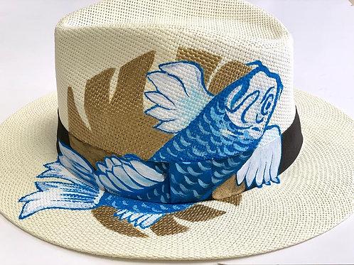 Blue Koi Hand Painted Hat by Theme Dresser for Rei Giraldo