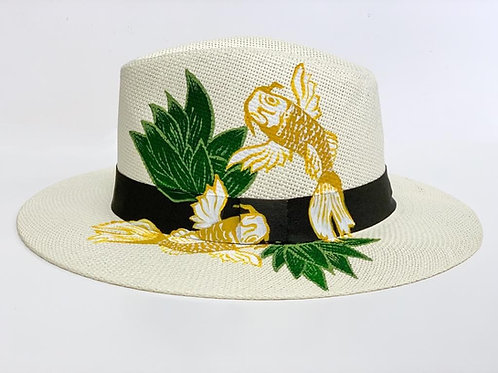 Yellow Koi Hand Painted Hat by Theme Dresser for Rei Giraldo