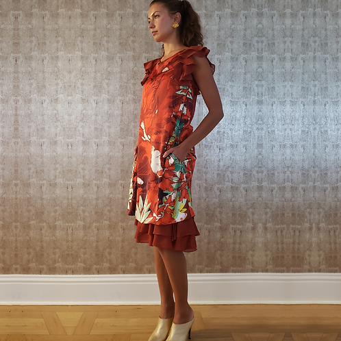 Classy Silk & Chiffon Ruffles Satchel Dress