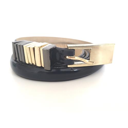 Blue 3Colors Bukle Skinny Patent Leather Belt