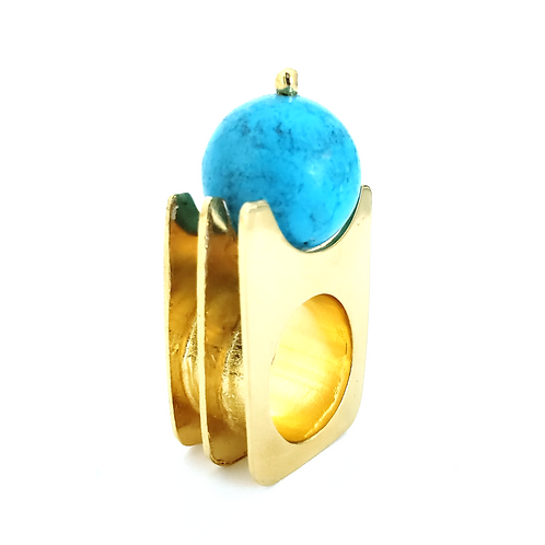 Turquoise 3D Gold Plated Ring