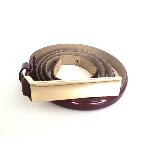 Wine Skinny Leather Belt Gold Buckle