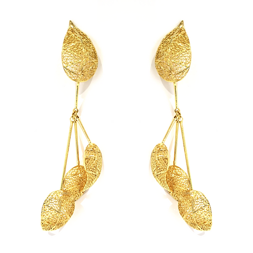 Leafs 24k Gold Plated Filigree Earrings