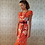 Thumbnail: Red Koi Silk & Chiffon Ruffles Satchel Dress