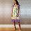 Thumbnail: Purple Print Silk & Chiffon Ruffles Satchel Dress