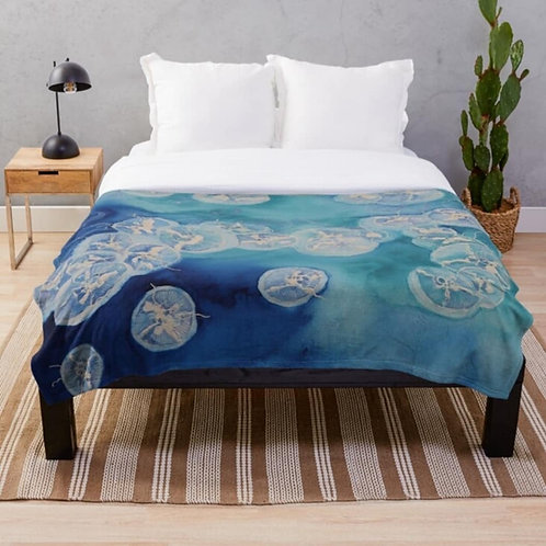 Moon Over Sea Throw Blanket
