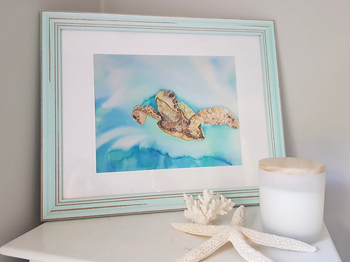 Green Sea Turtle Framed Print A4