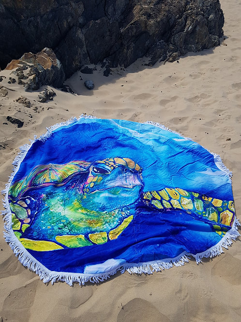 Iridescent Turtle Round Tassel Beach Towel