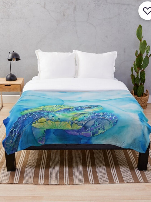 Turquoise Turtle Throw Blanket