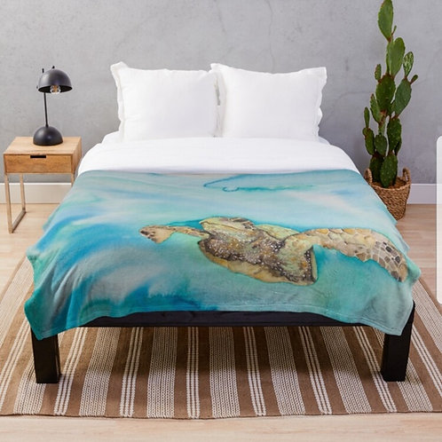 Green Sea Turtle Throw Blanket