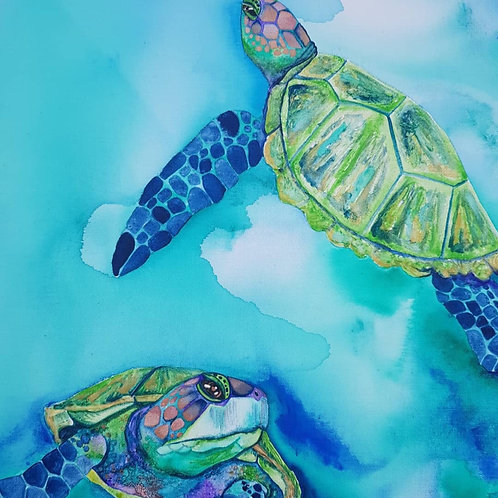 Jade Turtles Art Print
