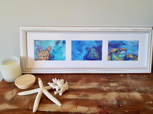Long Triptych Turtle Island Framed Print