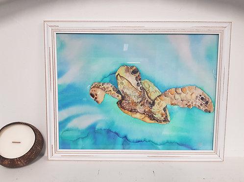 Green Sea Turtle Rustic Framed Print