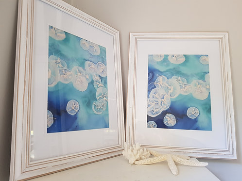 Moon Over Sea Framed Print