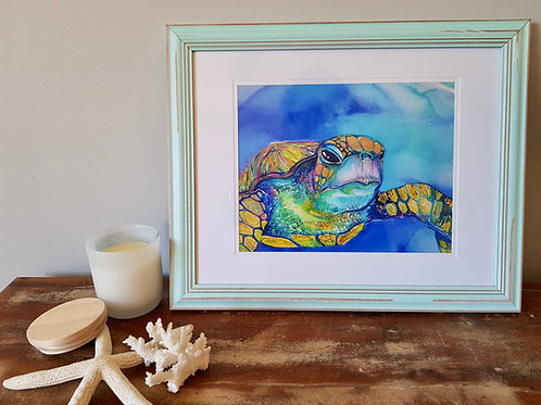 Iridescent Turtle Framed Print A4