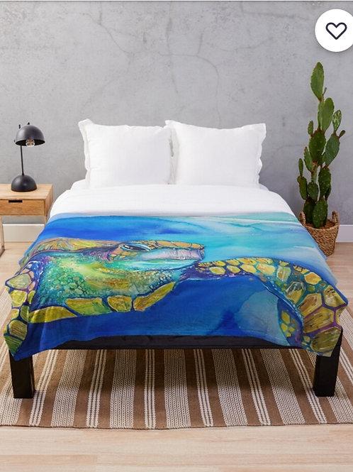 Iridescent Turtle Throw Blanket