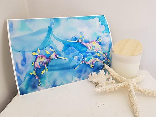 Candy Sea Dragons Art Print