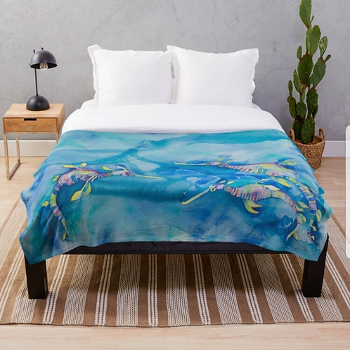 Candy Sea Dragons Throw Blanket