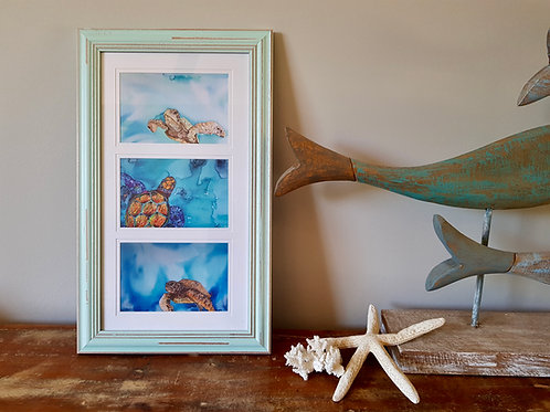 Short Triptych Turquoise Bay Framed Print
