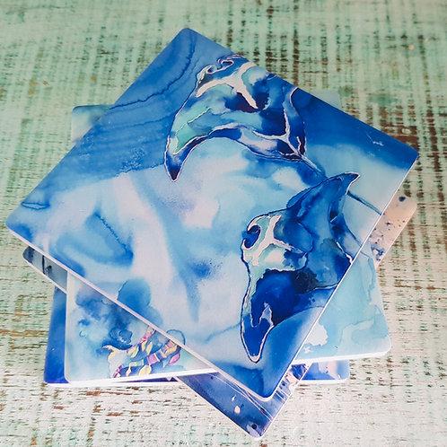 Ultramarine Currents Ceramic Coasters