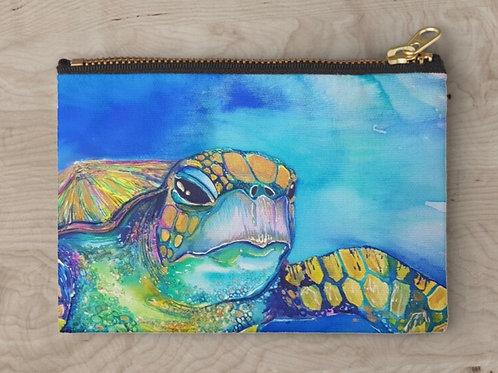 Iridescent Turtle Zipper Clutch