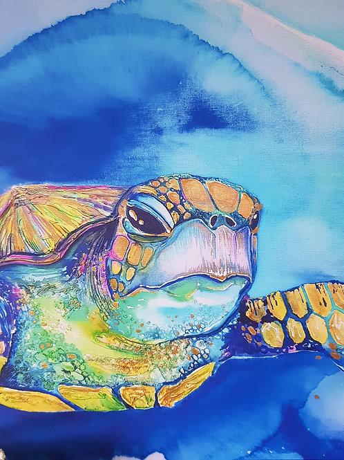 Custom Limited Edition Iridescent Turtle Canvas Print