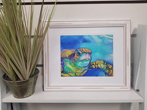 Iridescent Turtle Rustic Framed Print
